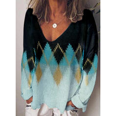 Color Block Geometric Print V-Neck Casual Sweaters