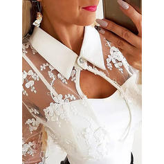 Solid Lace Lapel Long Sleeves Casual Blouses