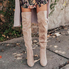 Women's Suede Chunky Heel Over The Knee Boots With Ruched Zipper Solid Color shoes