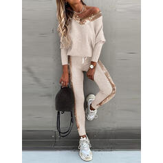 Patchwork Sequins Casual Sporty Suits
