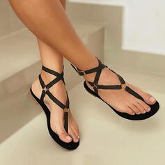 Women's PU Flat Heel Sandals Flip-Flops With Hollow-out Solid Color Bandage shoes