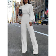 Solid Stand collar Long Sleeves Casual Elegant Jumpsuit