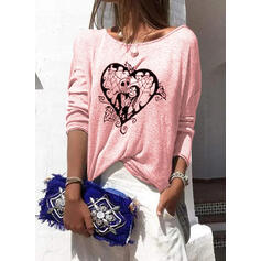 Print Heart Round Neck Long Sleeves Casual Halloween T-shirts