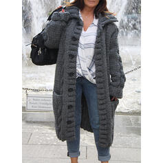 Solid Cable-knit Chunky knit Pocket Lapel Casual Long Cardigan
