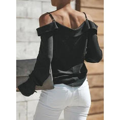 Solid Cold Shoulder Long Sleeves Button Up Casual Blouses