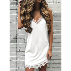 Lace/Solid Sleeveless Shift Above Knee Sexy/Casual Slip Dresses