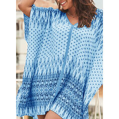 Print 1/2 Sleeves Shift Above Knee Casual/Vacation Tunic Dresses