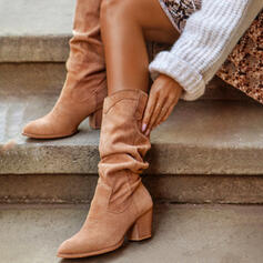 Women's PU Chunky Heel Mid-Calf Boots Heels Round Toe With Ruched Solid Color shoes