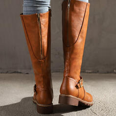 Women's PU Flat Heel Boots Knee High Boots Round Toe With Buckle Solid Color shoes