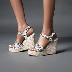 Women's PU Wedge Heel Sandals Wedges With Buckle Animal Print shoes