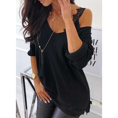 Solid One-Shoulder 3/4 Sleeves Casual Blouses