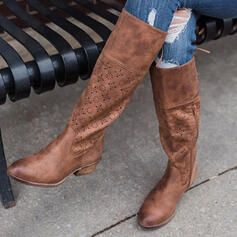 Women's PU Chunky Heel Knee High Boots Riding Boots Round Toe With Zipper Hollow-out shoes