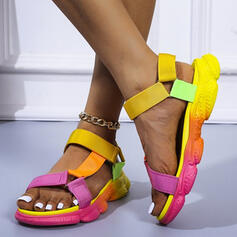 Women's PU Flat Heel Sandals With Hollow-out Velcro shoes