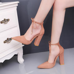 Women's Suede Chunky Heel Pumps Closed Toe With Buckle Lace-up shoes