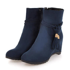 Women's Suede Wedge Heel Boots With Tassel Solid Color shoes
