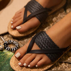 Women's PU Flat Heel Sandals Flats Peep Toe Flip-Flops Slippers Round Toe With Braided Strap Split Joint shoes