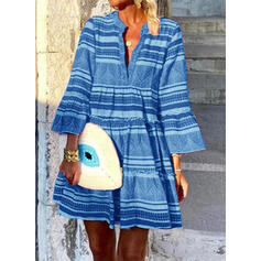 Print/Striped Long Sleeves/Flare Sleeves Shift Above Knee Casual/Boho/Vacation Tunic Dresses