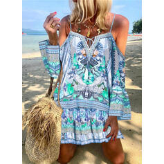 Print/Floral Long Sleeves/Flare Sleeves Shift Above Knee Casual/Boho/Vacation Dresses