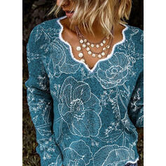 Print Floral V-Neck Casual Sweaters