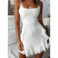 Print Lace Sleeveless A-line Above Knee Casual/Vacation Slip/Skater Dresses