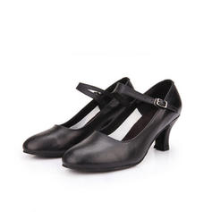 Women's Character Shoes Heels Real Leather With Buckle Latin