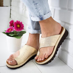 Women's PU Flat Heel Slippers Toe Ring With Others shoes