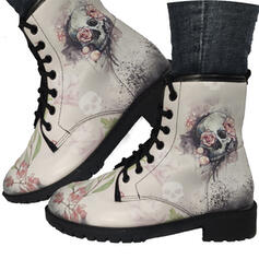 Women's PU Low Heel Boots Martin Boots With Embroidery shoes