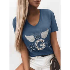 Sequins Beaded V-Neck Short Sleeves Casual T-shirts