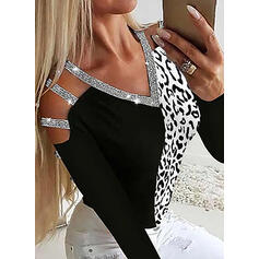 Color Block Sequins Cold Shoulder Long Sleeves Casual Blouses