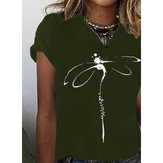 Animal Print Letter Round Neck Short Sleeves Casual T-shirts