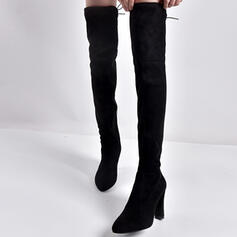 Women's Suede Stiletto Heel Boots Over The Knee Boots With Zipper Lace-up Solid Color shoes