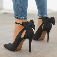 Women's Microfiber Leather Stiletto Heel Pumps With Bowknot shoes