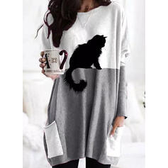 Color Block Animal Print Pockets Round Neck Long Sleeves Sweatshirt