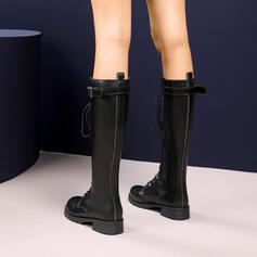 Women's Leatherette Chunky Heel Knee High Boots Round Toe With Zipper Lace-up Tassel Solid Color shoes
