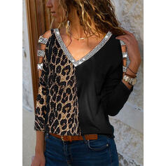Sequins Leopard Cold Shoulder Long Sleeves Casual Sexy Blouses