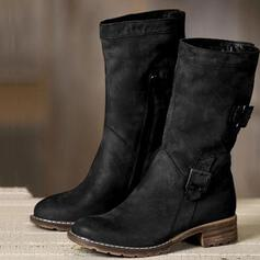 Women's Leatherette Low Heel Mid-Calf Boots Round Toe With Buckle Zipper Solid Color shoes