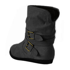 Women's Leatherette Flat Heel Boots Ankle Boots With Buckle shoes