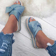Women's Cloth Flat Heel Sandals Slippers With Bowknot shoes