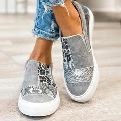 Women's Canvas Flat Heel Low Top Slip On With Animal Print Elastic Band shoes