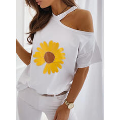 Sunflower Print One-Shoulder Short Sleeves Casual Blouses
