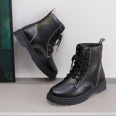 Women's Leatherette Flat Heel Martin Boots Round Toe With Lace-up shoes