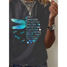 Animal Print Heart Letter Round Neck Short Sleeves Casual T-shirts
