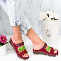 PU Wedge Heel Sandals Slippers With Hollow-out shoes