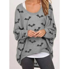 Animal Print Round Neck Long Sleeves Casual Halloween Blouses