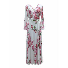 Plus Size Floral Print 3/4 Sleeves A-line Maxi Casual Vacation Dress