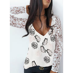 Floral Animal Print Lace V-Neck Long Sleeves Casual Blouses