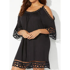 Lace/Solid 1/2 Sleeves Shift Above Knee Casual/Vacation Tunic Dresses