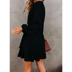 Solid Long Sleeves A-line Above Knee Little Black/Casual Skater Dresses