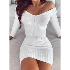 Solid Long Sleeves Bodycon Above Knee Little Black/Casual Dresses