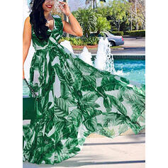 Plus Size Print Sleeveless A-line Maxi Casual Vacation Dress